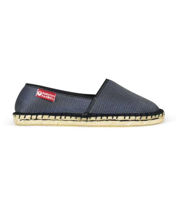 Original esparto handmade espadrilles with flat platform for women online black color