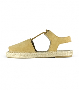 Women's abarcas espadrilles with jute flat sole handmade in Spain