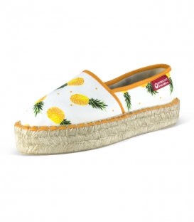 Handmade esparto platform sole printed camping Espadrilles for women