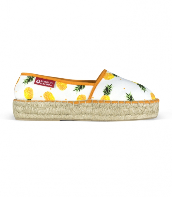 Printed jute platform sole camping espadrilles for women Handmade in Spain