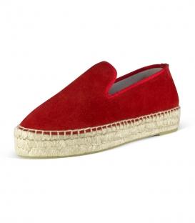 Alpargatas con suela de plataforma doble de esparto cosidas a mano de forma artesanal para mujer en color rojo