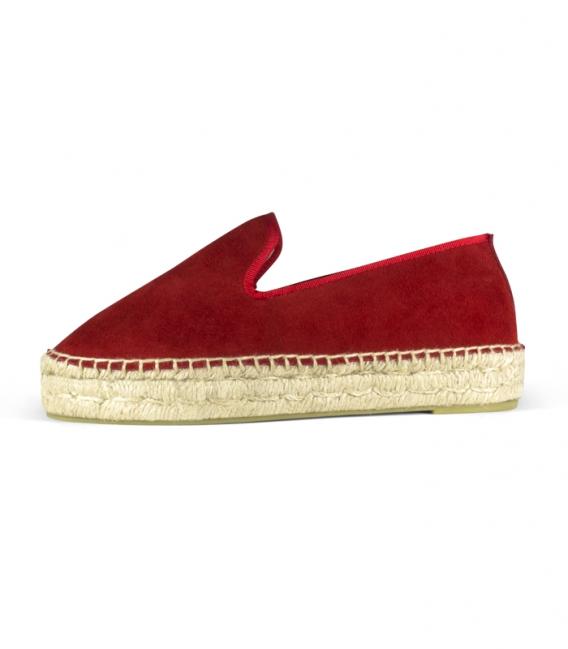 Alpargatas rojas con suela de plataforma de yute para mujer hechas a mano en España