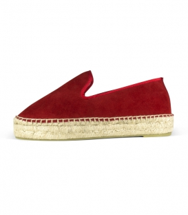Handmade red jute platform sole espadrilles for women in Spain