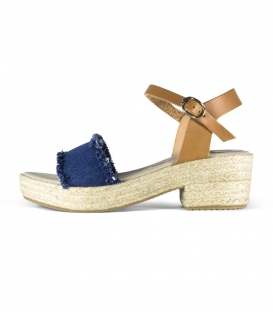 Jute heel jeans Sandals with leather buckle in red and brown for women