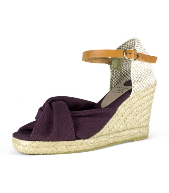 Handamade Jute wedge heel Espadrilles shoes for women in violet color