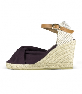 Jute wedge espadrilles and leather buckle in violet and brown for women