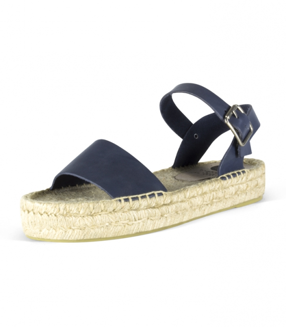 Leather jute double platform sole sandals for women in blue color