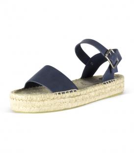 Sandalias de cuero con suela de plataforma doble de yute para mujer en color azul