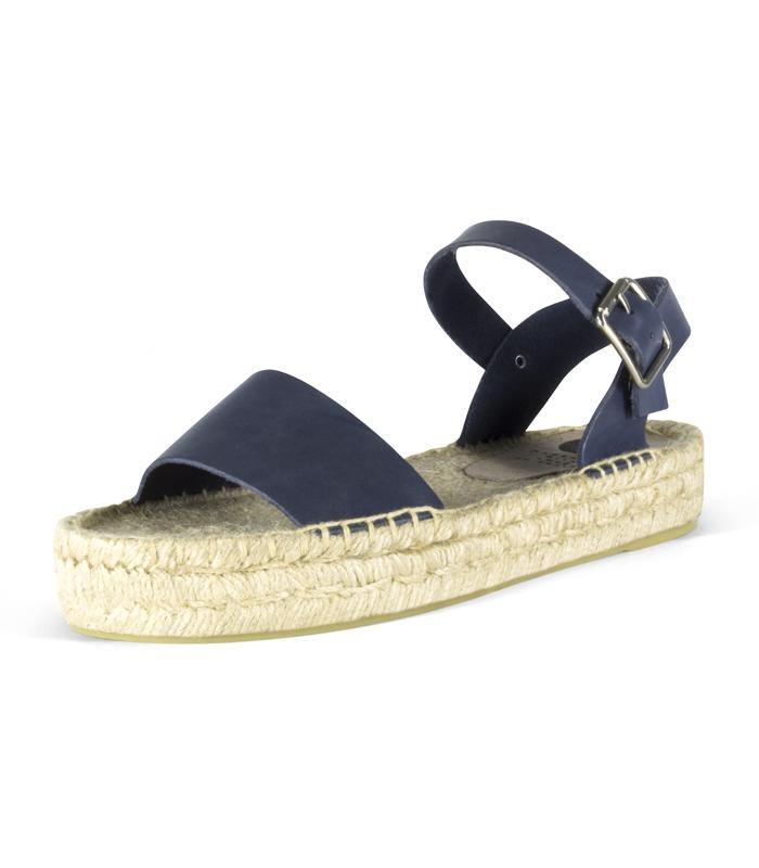 cd0949689ef Sandalias de cuero con suela de plataforma doble de yute para mujer en  color azul