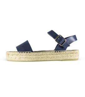 Sandalias de cuero con suela de plataforma de esparto para mujer en color azul