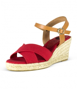 Jute Wedge heel sandals with leather buckle for women in red and brown colors