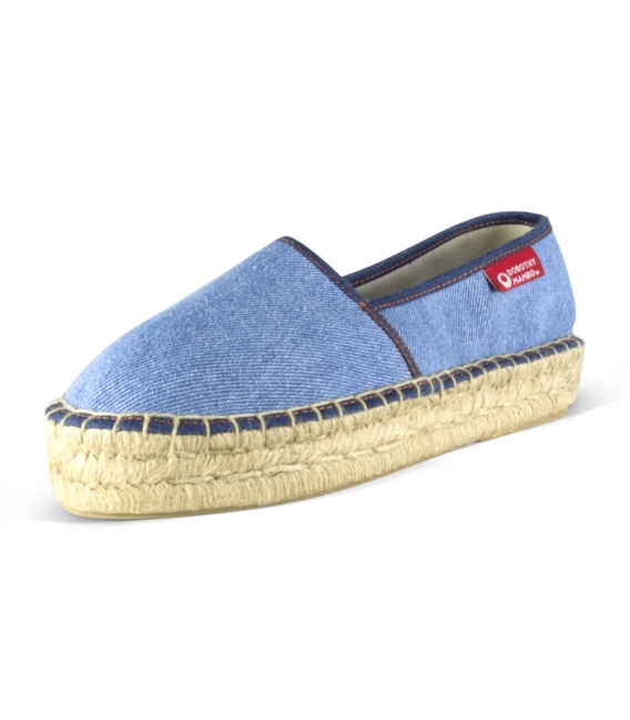 Jeans camping espadrilles with esparto platform sole for women