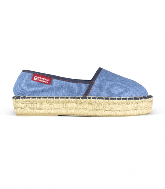 Jeans jute platform sole camping espadrilles for women Handmade in Spain