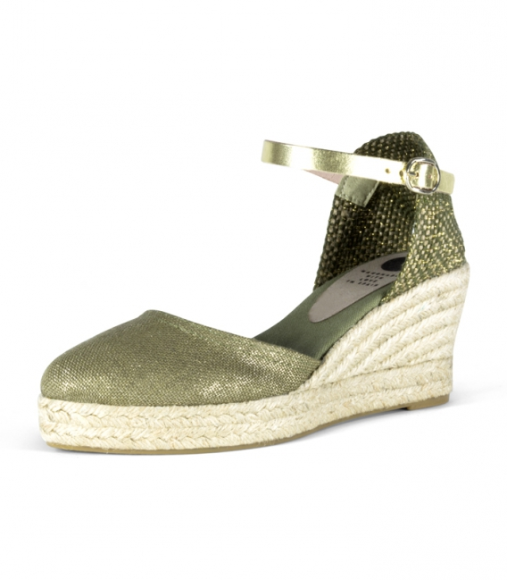 Valencian jute wedge heel espadrilles with metallic buckle for women