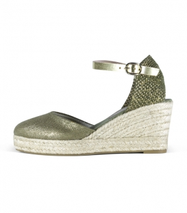 Valencian esparto wedge espadrilles shoes with metallic leather buckle for woman