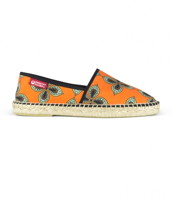 Flat jute canvas camping espadrilles shoes for men in green and orange colors