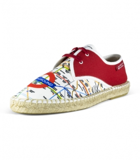 Canvas jute flat blucher espadrilles for men in red, blue and white colors
