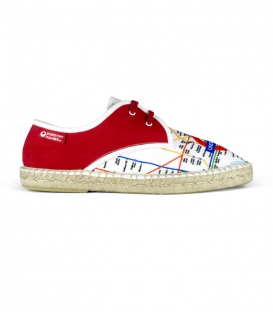 Flat jute canvas blucher espadrilles with shoelaces for men in red, white and blue colors