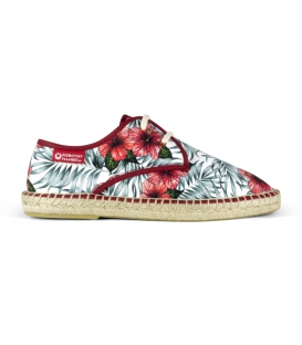 Flat jute canvas blucher espadrilles with laces for men in red, green and white colors