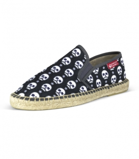Printed moccasins espadrilles with jute sole for men in black, blue and white