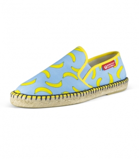 Printed moccasins espadrilles with jute sole for men in green, blue and yellow