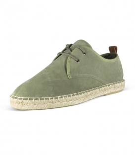Leather espadrilles shoes with jute sole and laces for men in green color