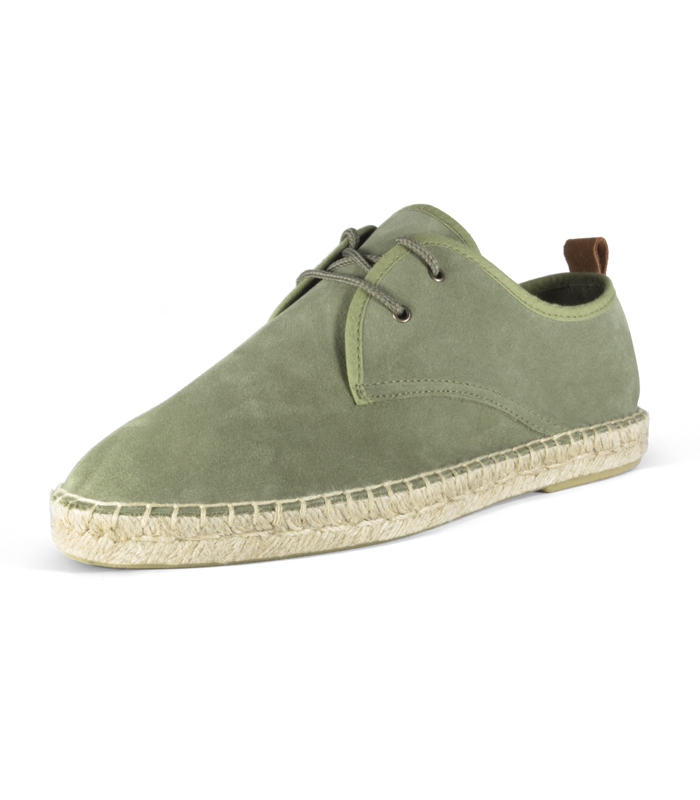 ee12498ab3c Leather espadrilles shoes with jute sole and laces for men in green color
