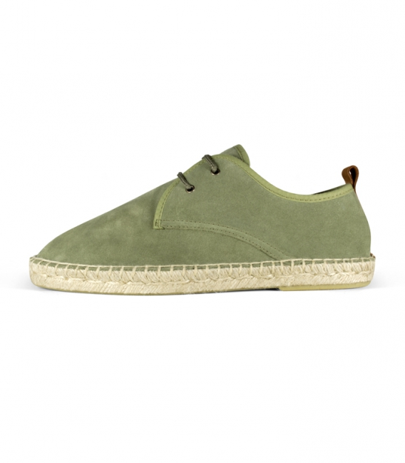 Leather espadrilles shoes with esparto sole and laces for men in green tone