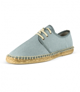 Blucher espadrilles shoes with jute sole and laces for men in blue color