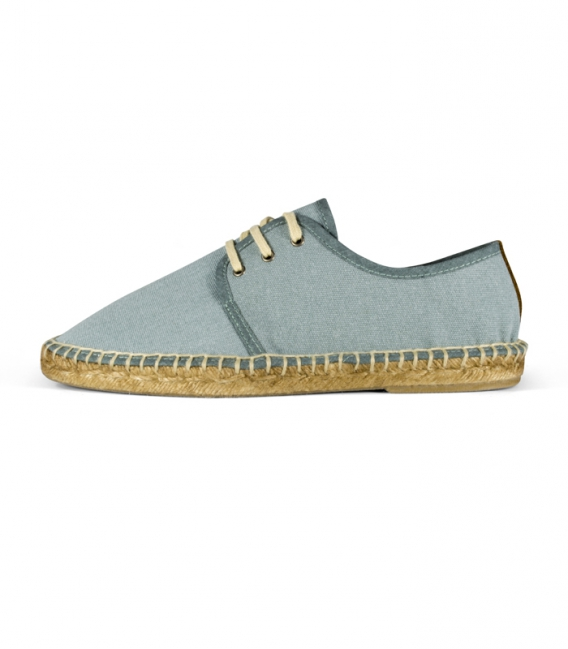 Blucher espadrilles shoes with esparto sole and laces for men in blue tone