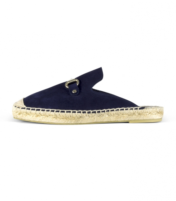 Sandalias babuchas con suela plana de esparto para mujer en color azul marino