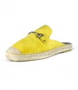 Babuchas de piel con suela plana de esparto para mujer en color amarillo
