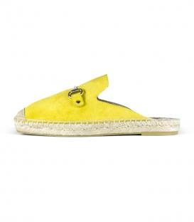 Sandalias babuchas con suela plana de esparto para mujer en color amarillo