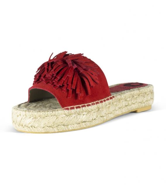 Alpargatas de piel tipo pala con suela plana de esparto para mujer en color rojo