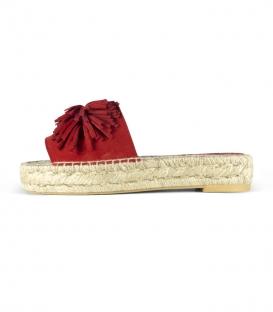 Alpargatas de cuero tipo pala con suela plana de yute para mujer en color rojo
