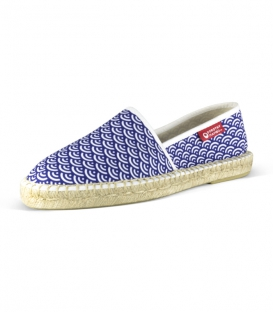 Canvas jute flat camping espadrilles for men in white and blue colors