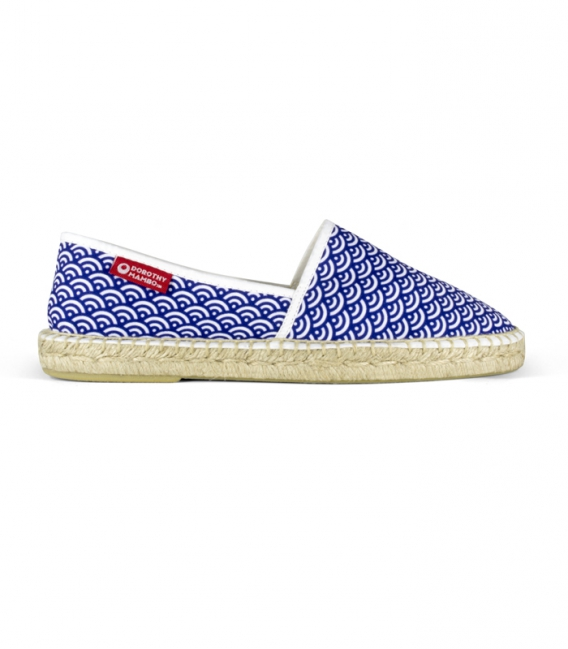 Flat jute canvas camping espadrilles shoes for men in blue and white colors