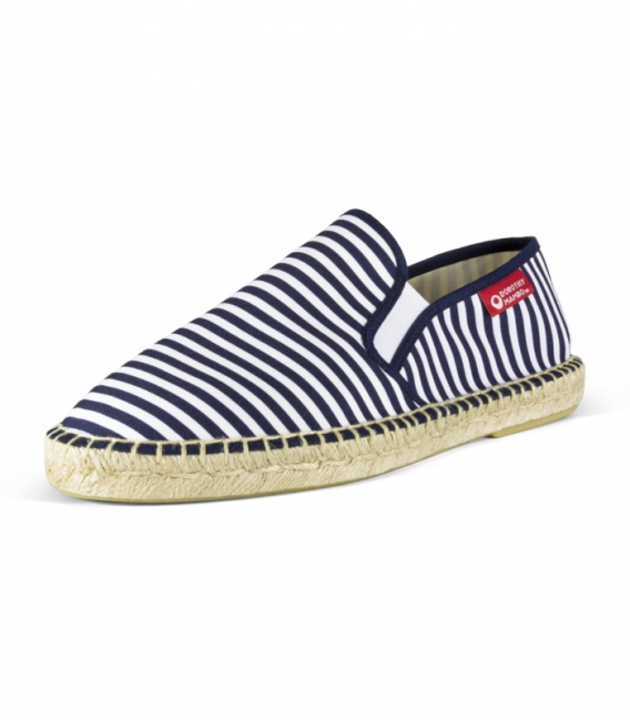 Navy printed canvas espadrilles for men in blue and white