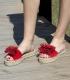 Alpargatas de serraje tipo pala con suela de plataforma doble de esparto para mujer en color rojo con pompón rojo de adorno