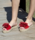 Flat leather esparto espadrilles sandals for woman in red