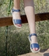 Leather esparto double platform sole espadrilles sandals for women in blue