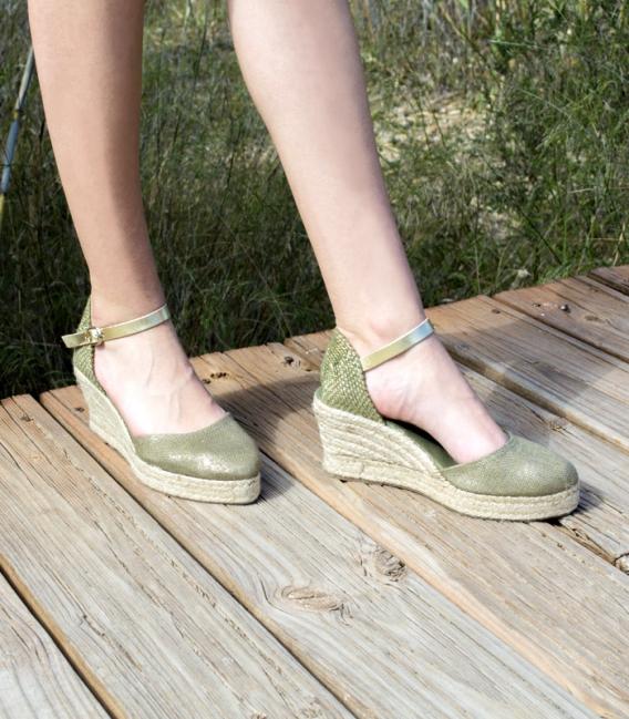 Valencian esparto wedge heel espadrilles with metallic buckle for women