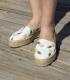 Alpargatas camping estampadas con suela de plataforma de esparto para mujer cosidas a mano en España