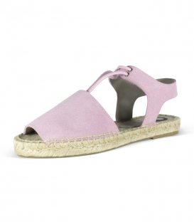 Hand-sewn pink menorcan espadrilles with esparto sole for women