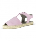 Abarca leather Menorcan espadrilles for women PINK CURAZAO