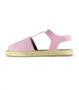 Women's pink abarcas espadrilles with jute flat sole handmade in Spain