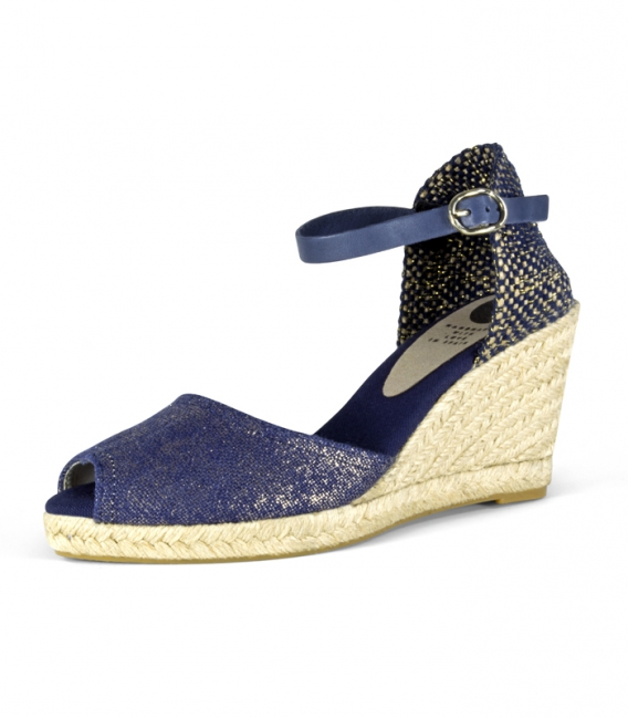 Valencian esparto wedge heel espadrilles with metallic buckle for women