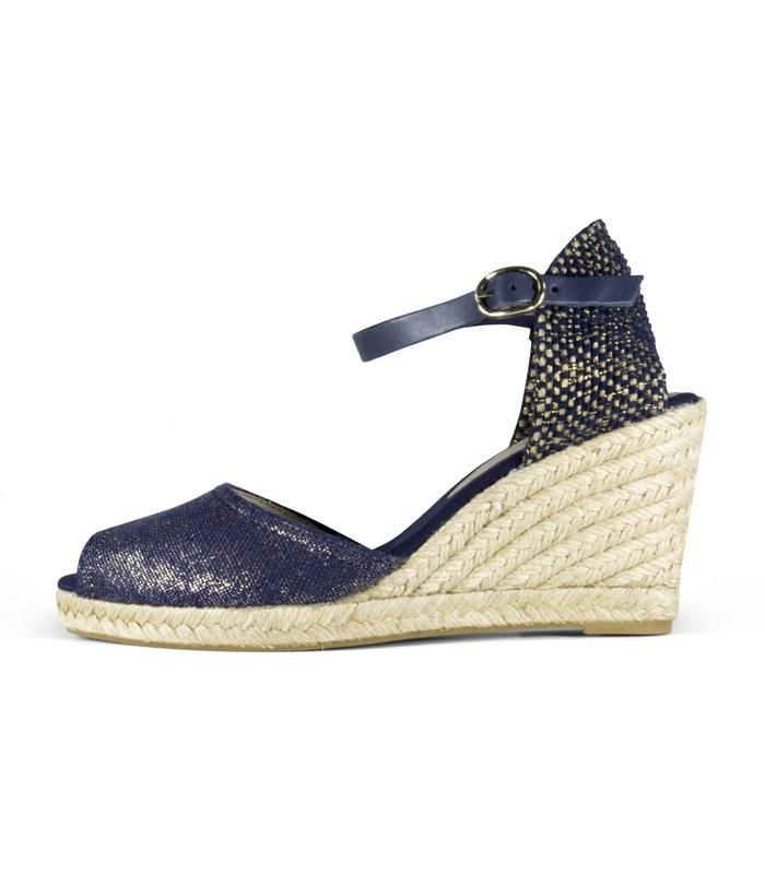 f4de2b4a1679 Valencian esparto wedge heel espadrilles with metallic buckle for women · Valencian  esparto wedge espadrilles shoes for woman in blue