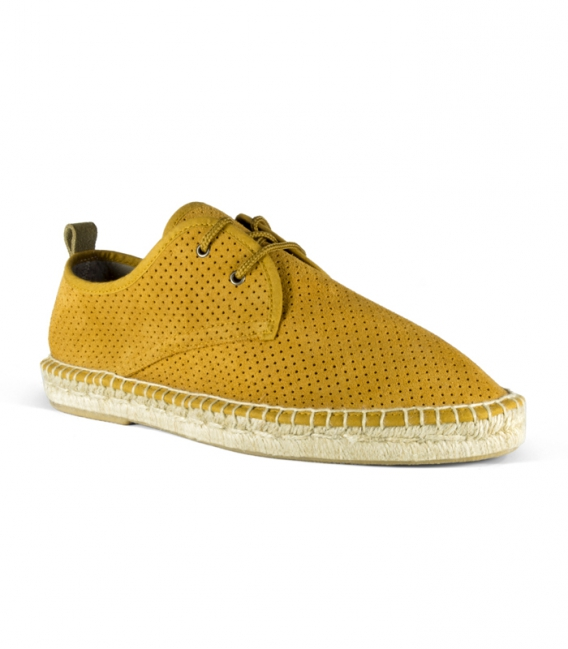 Leather espadrilles with jute sole and laces for men in camel color