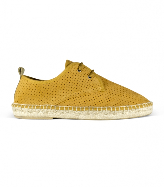 Leather espadrilles with esparto sole and laces for men in green tone